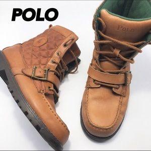 Polo Tan Leather Boot Boys US 6